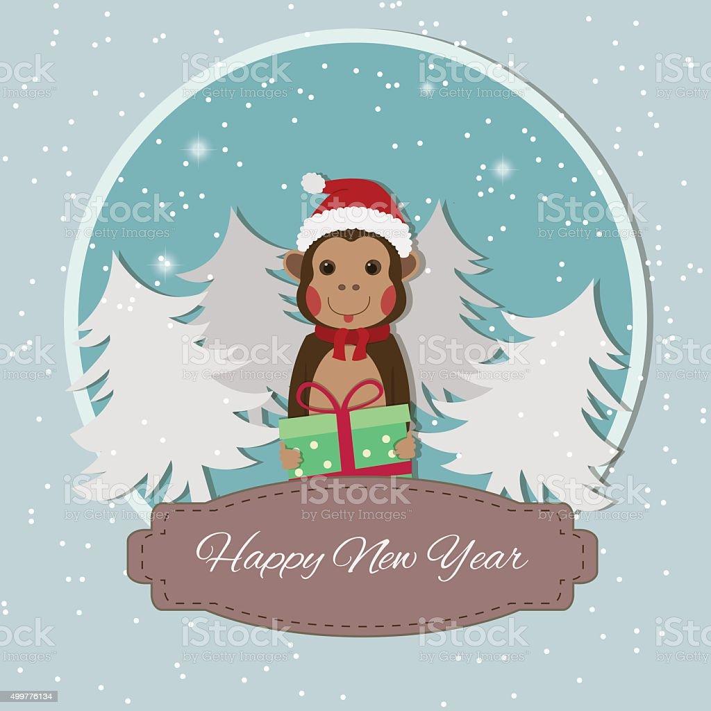 Chinese Zodiac - Monkeys. 2016 New Year Symbol. royalty-free stock vector art
