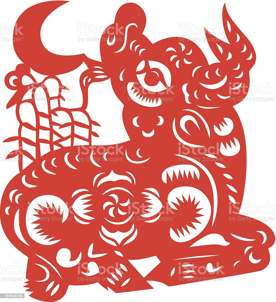 Chinese Zodiac Sign for Year of Ox vector art illustration