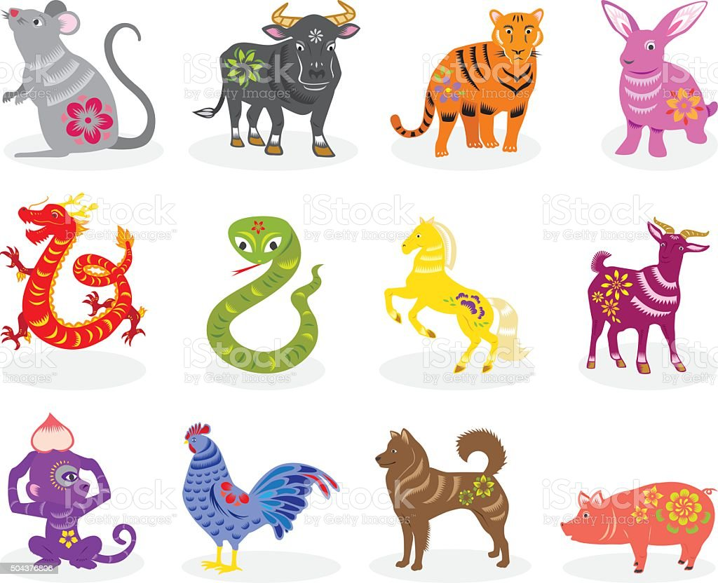 chinese zodiac signs vector art illustration