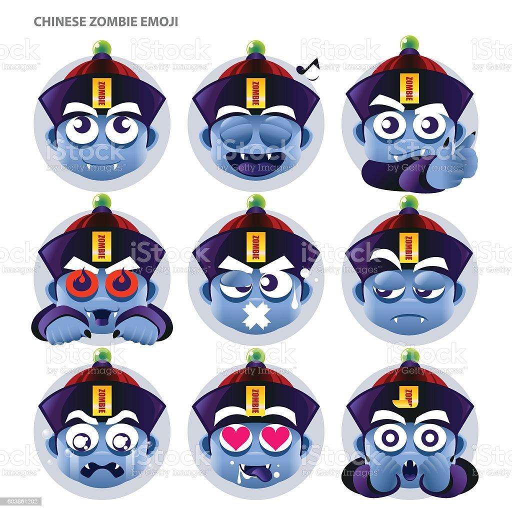 Chinese Zombie Emoji vector art illustration