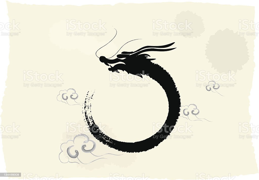 Chinese's Dragon Year  Ink Painting vector art illustration