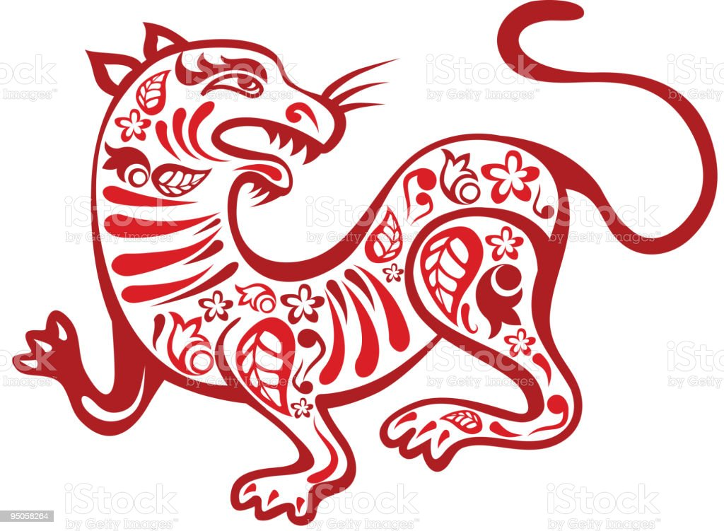 Chinese-styled tiger royalty-free stock vector art