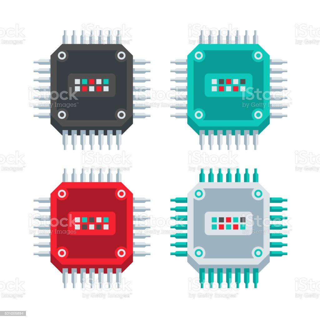 CPU Chip Flat Design Set vector art illustration