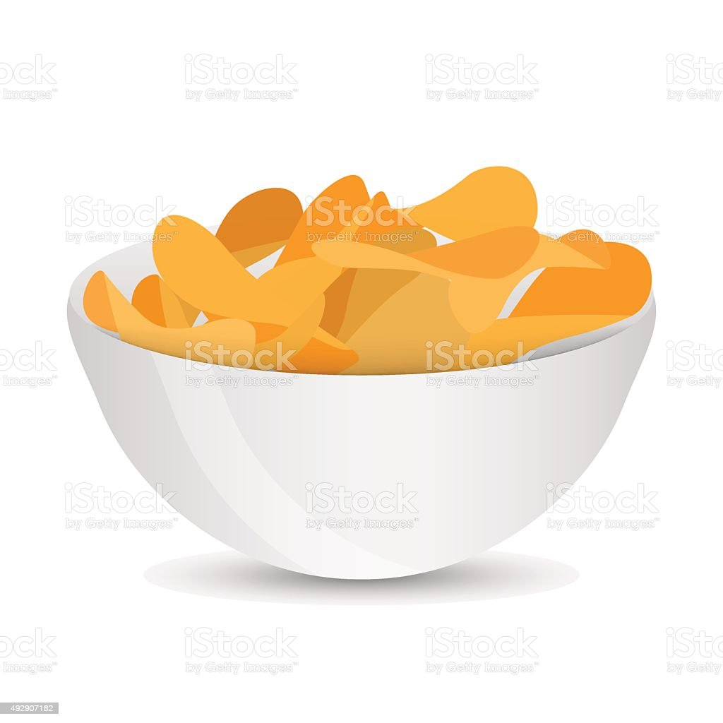 Chips in a plate vector art illustration