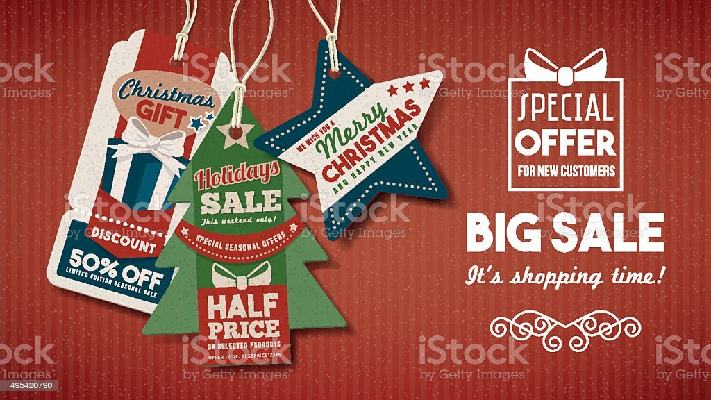 Chiristmas sales banner with tags vector art illustration
