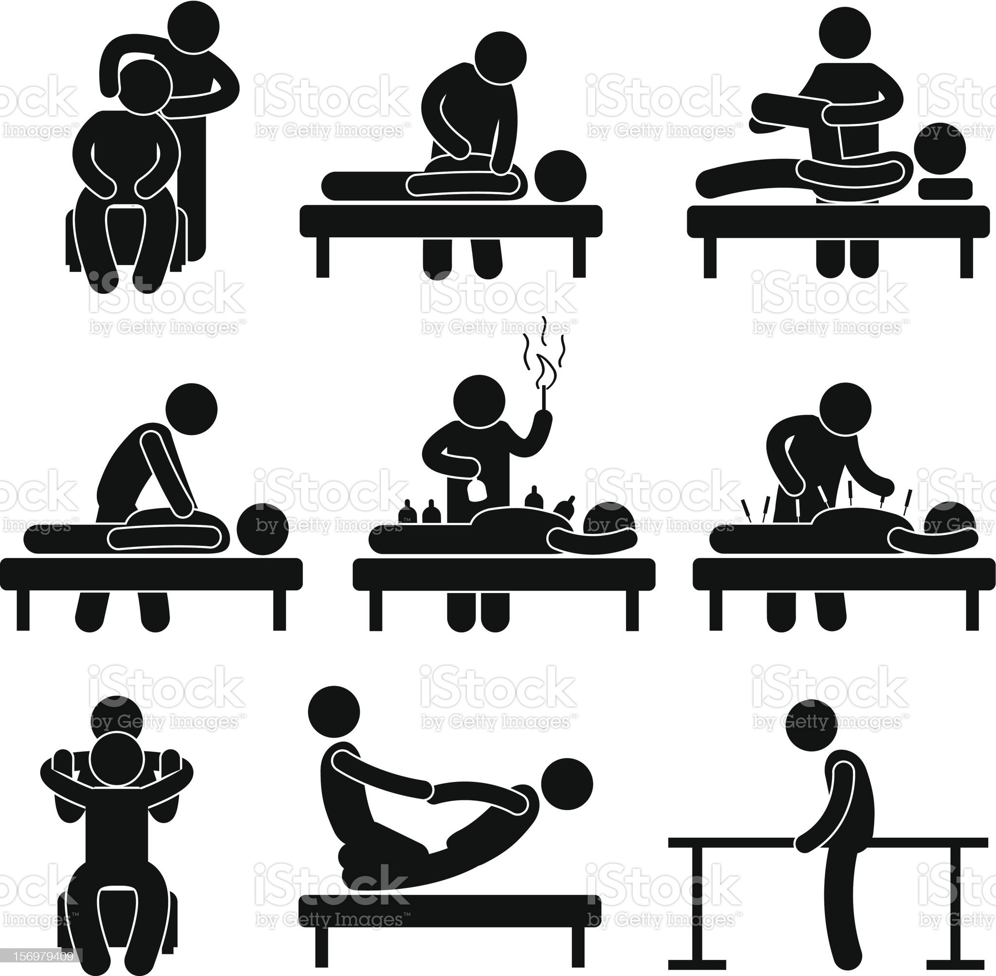 Chiropractic Acupuncture Massage Pictogram royalty-free stock vector art