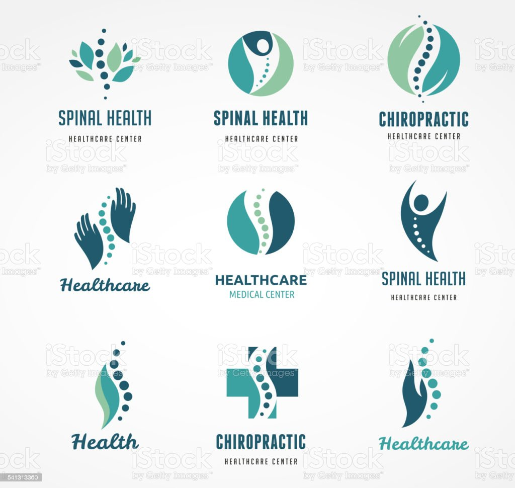 Chiropractic, massage, back pain and osteopathy icons vector art illustration