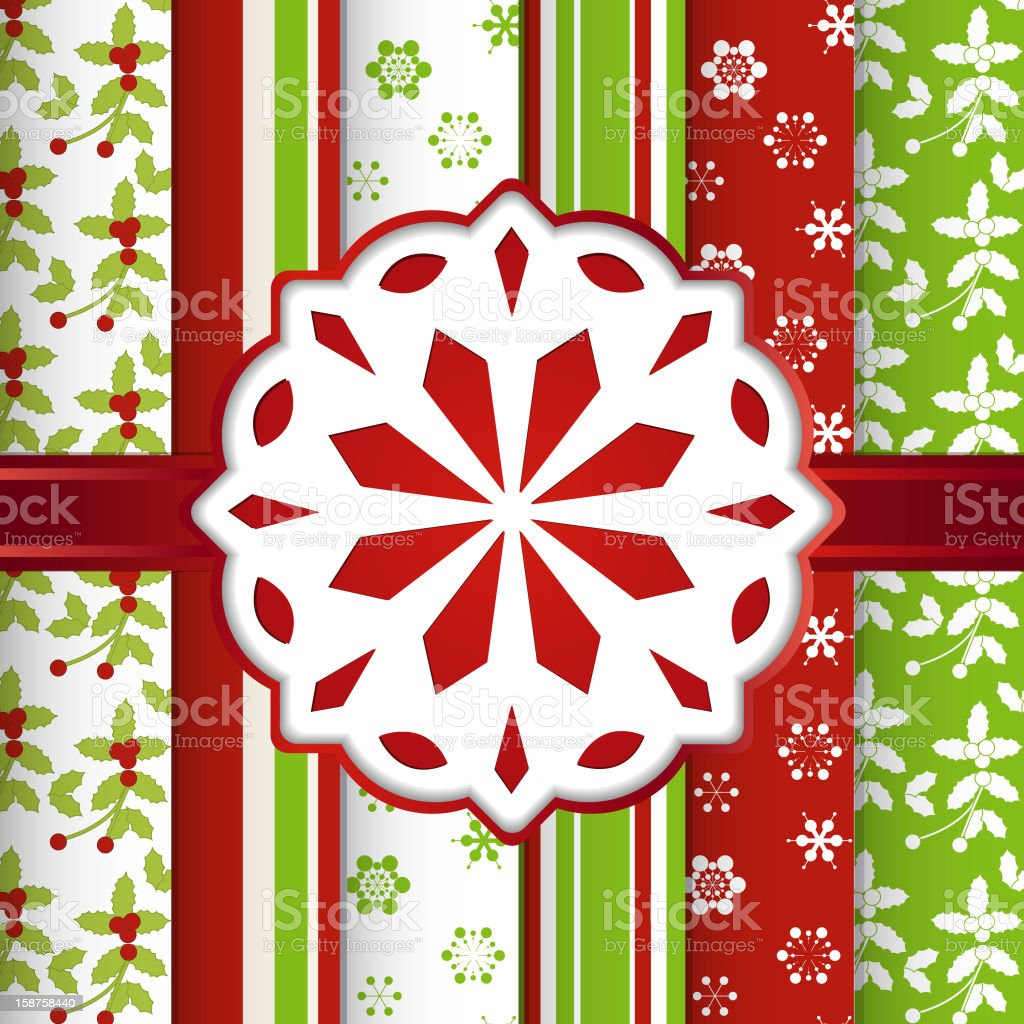Chirstmas scrap booking background with snowflake royalty-free stock vector art