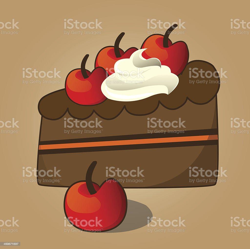 choccolate cake vector art illustration