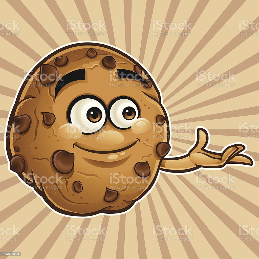 Choco Chip Cookie Cartoon - Presenting royalty-free stock vector art