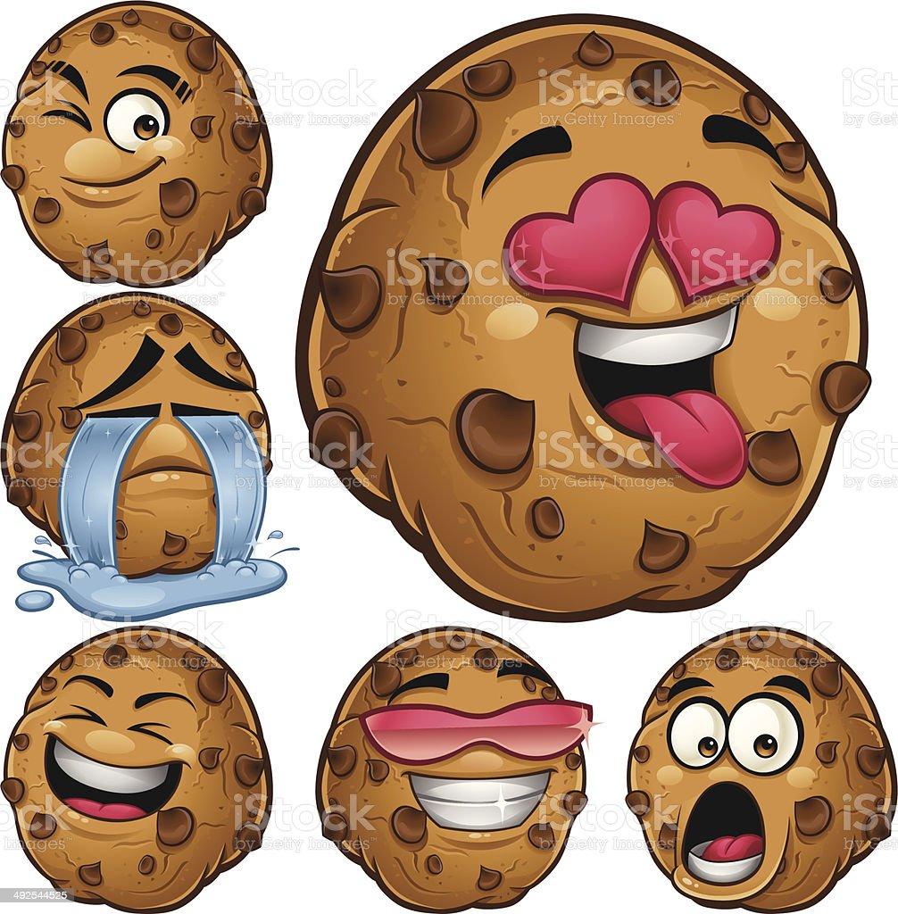 Choco Chip Cookie Cartoon Set B vector art illustration