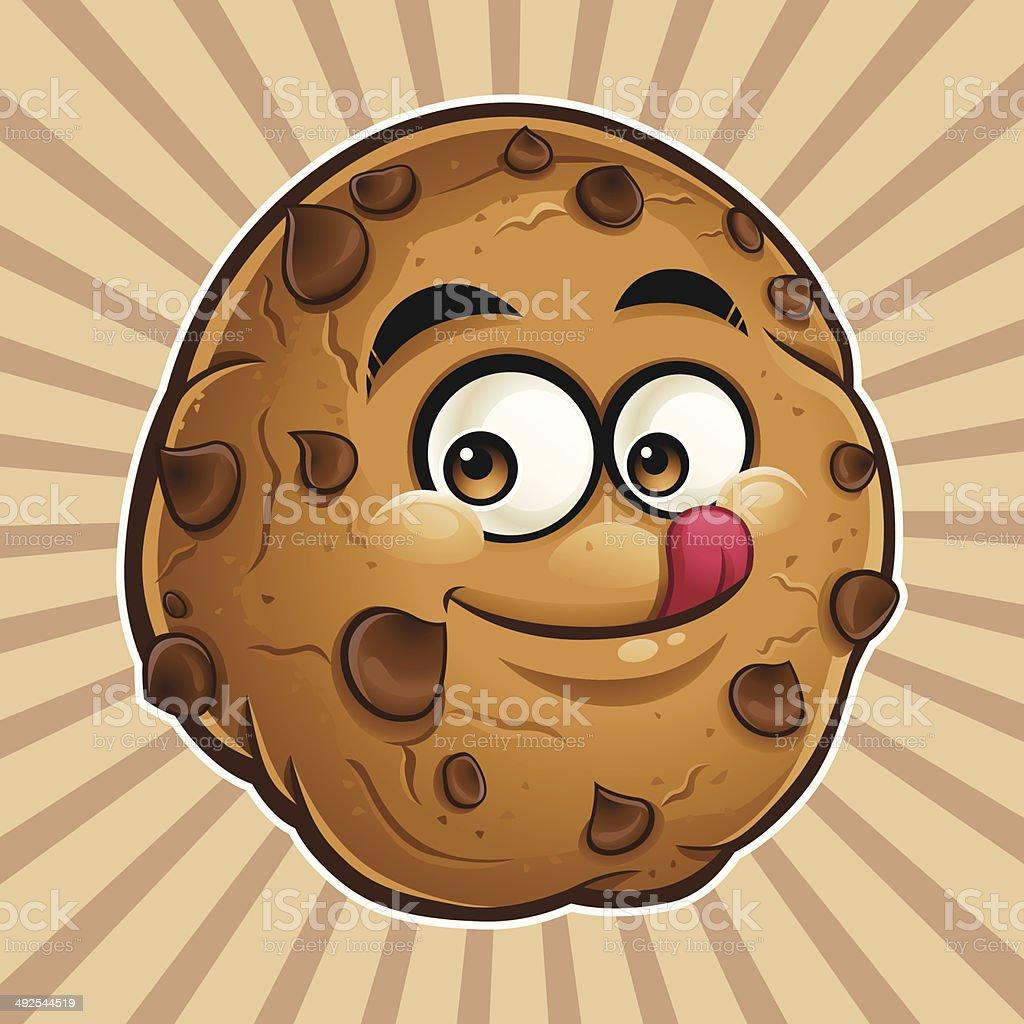 Choco Chip Cookie Cartoon - Tasty vector art illustration