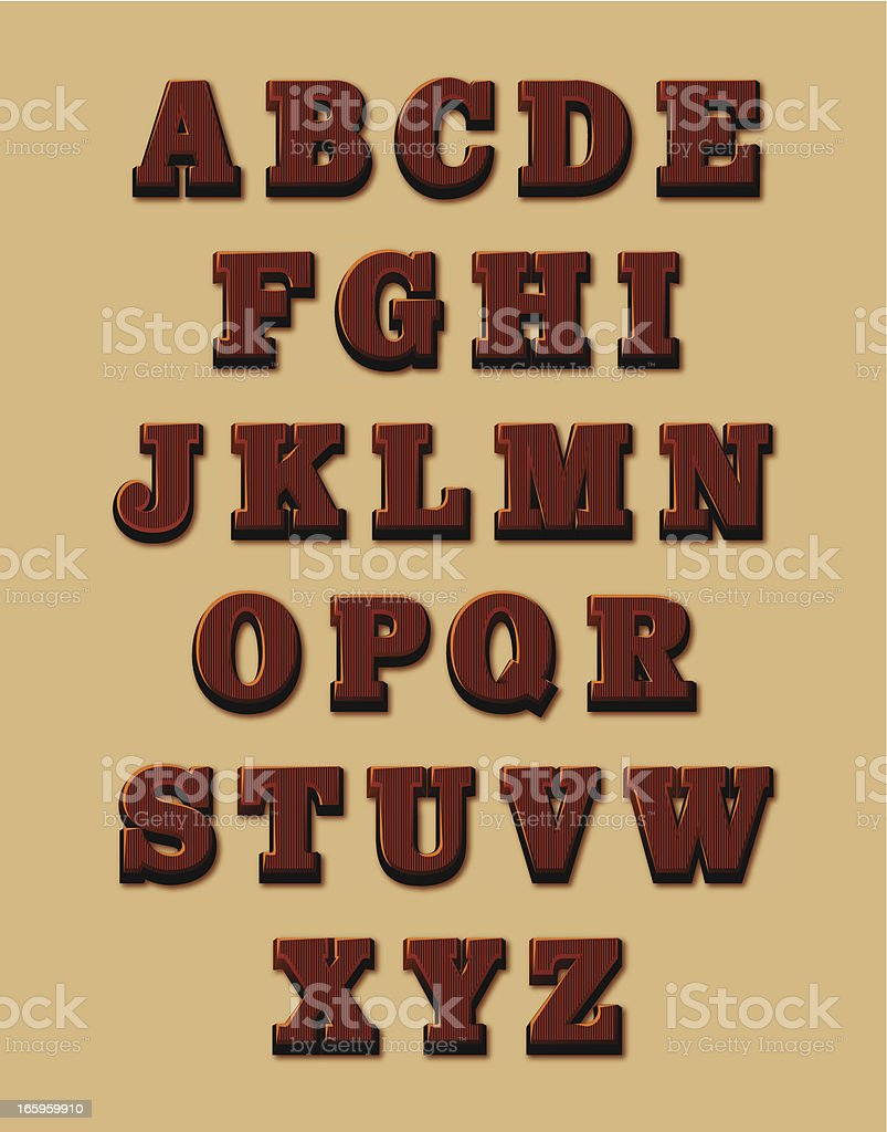 Chocolate alphabet vector art illustration