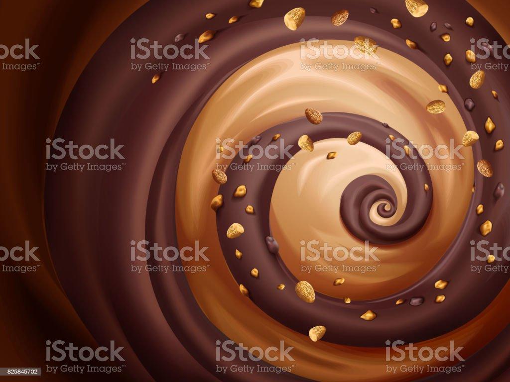 Chocolate and caramel sauce vector art illustration