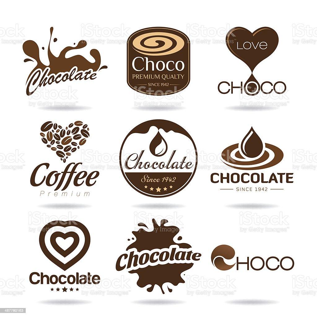Chocolate and coffee icon design - sticker vector art illustration