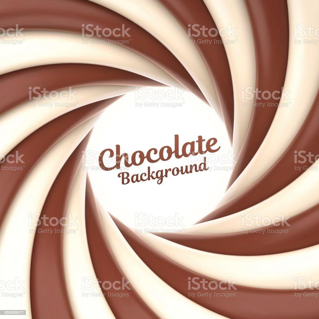 Chocolate and cream swirl background vector art illustration