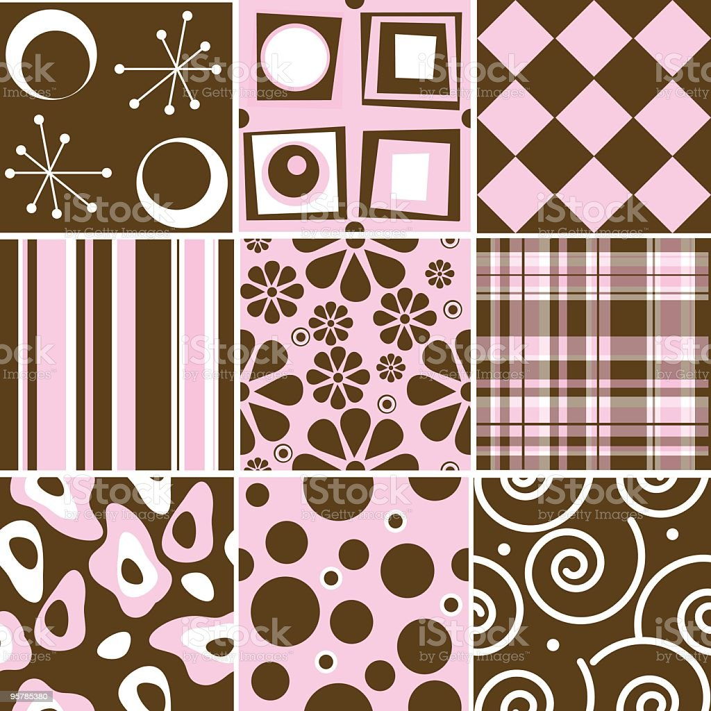 Chocolate and pink Seamless tile collection royalty-free stock vector art