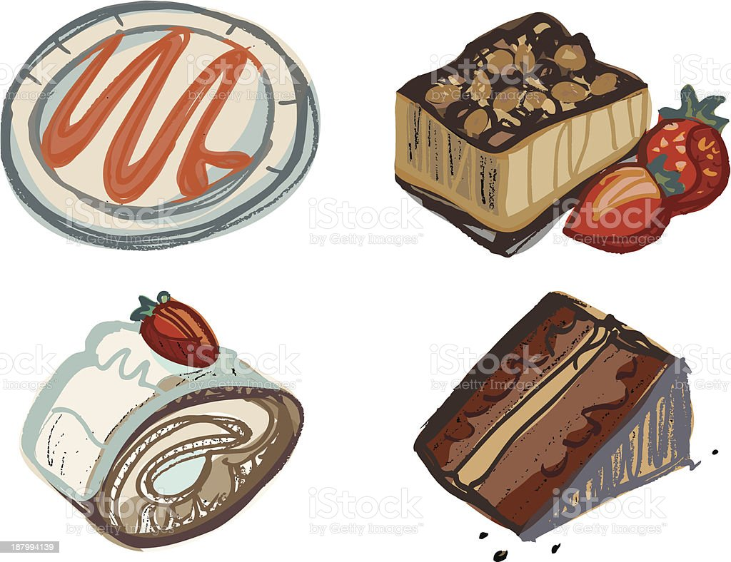 Chocolate and Strawberry Cake Slices with Plate royalty-free stock vector art