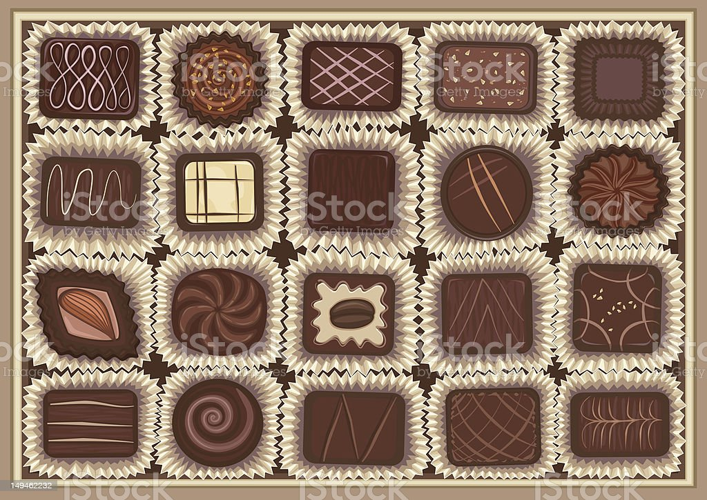 Chocolate assortment vector art illustration