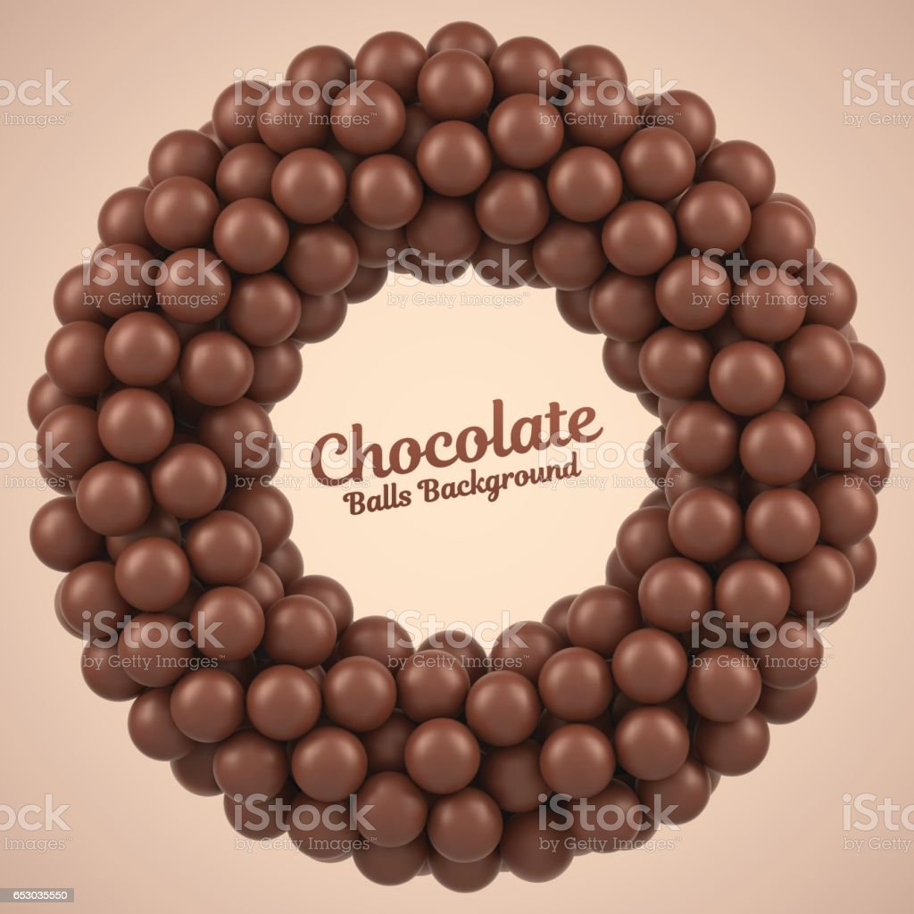 Chocolate balls round frame vector art illustration