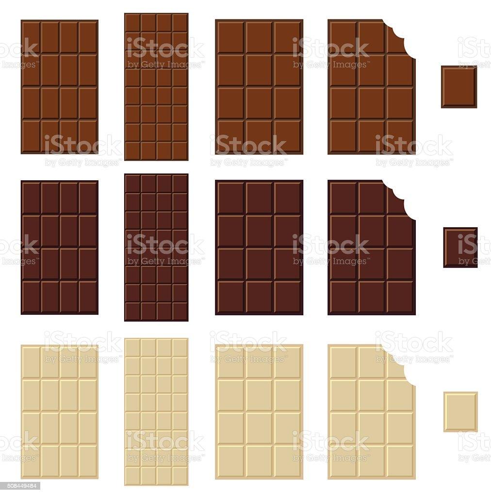 Chocolate bar isolated vector art illustration