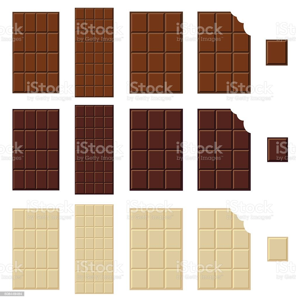 Chocolate bar isolated vector art illustration