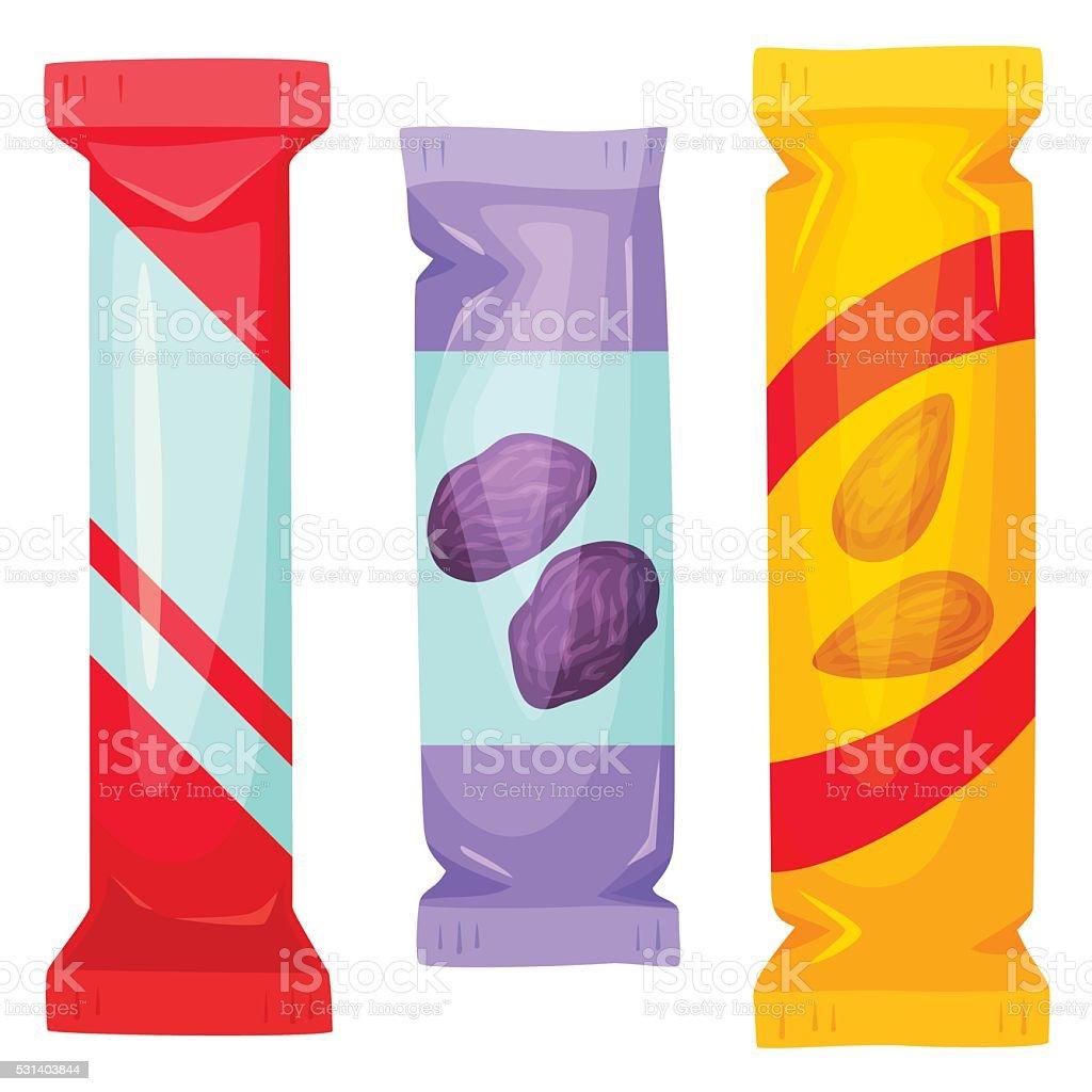 Chocolate bars pack vector art illustration