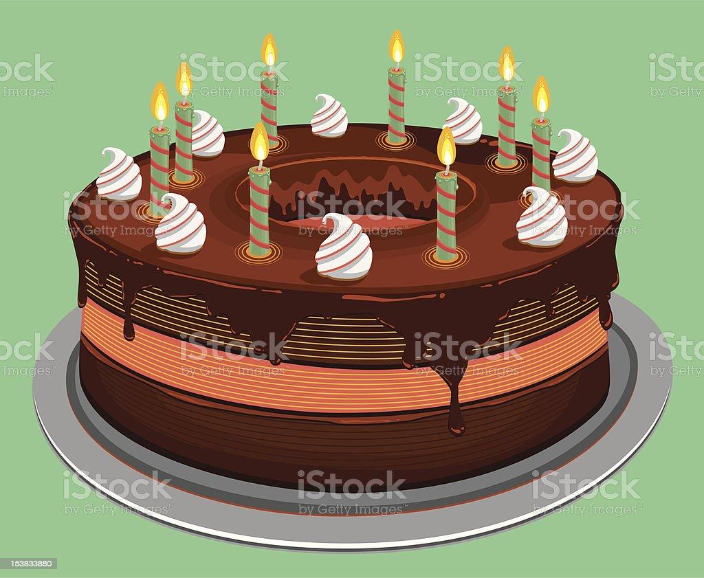 Chocolate Birthday Cake vector art illustration