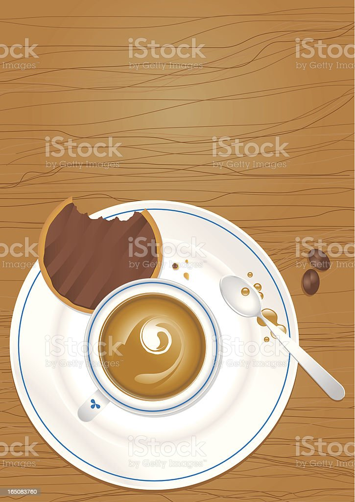 Chocolate biscuit and Cup of Coffee royalty-free stock vector art