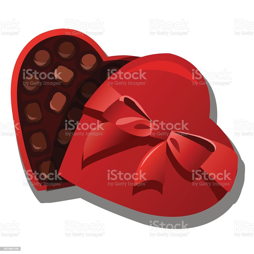 Chocolate box of chocolates in heart shape vector art illustration