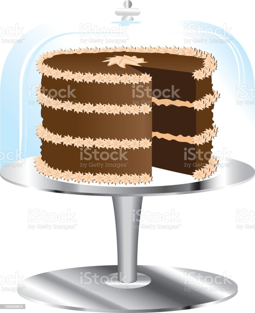 Chocolate Cake on stand and glass cover vector art illustration