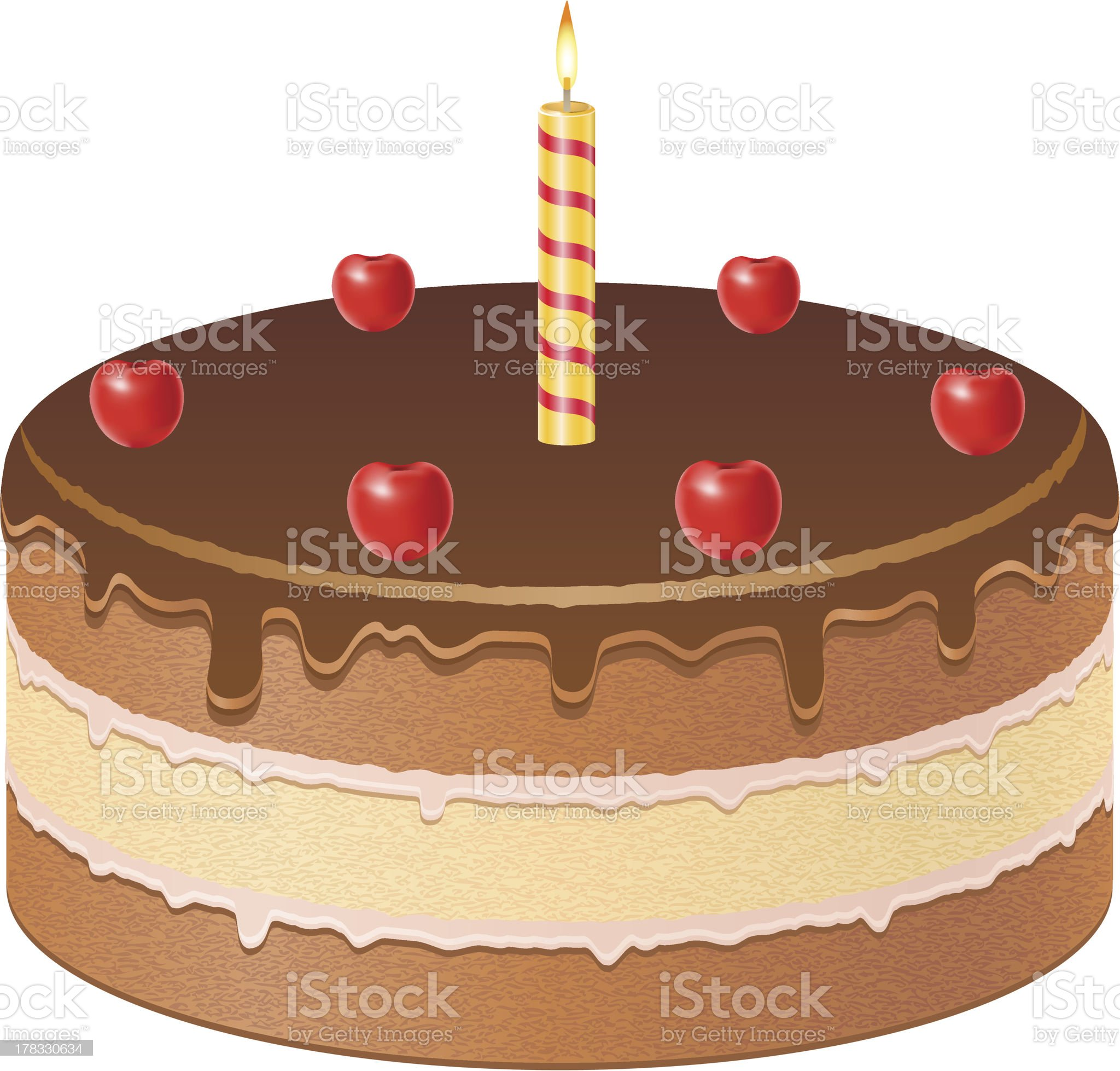 chocolate cake with cherries and burning candle vector illustration royalty-free stock vector art