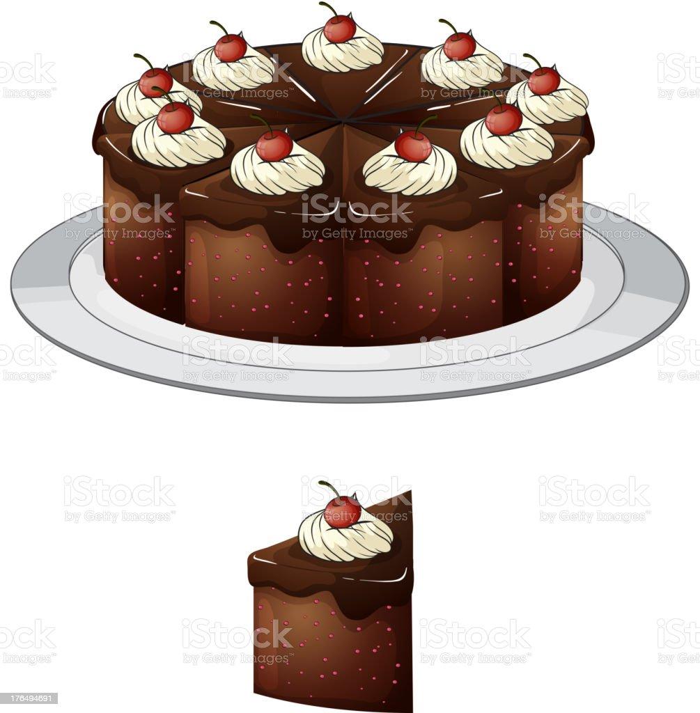 Chocolate cake with cherries vector art illustration