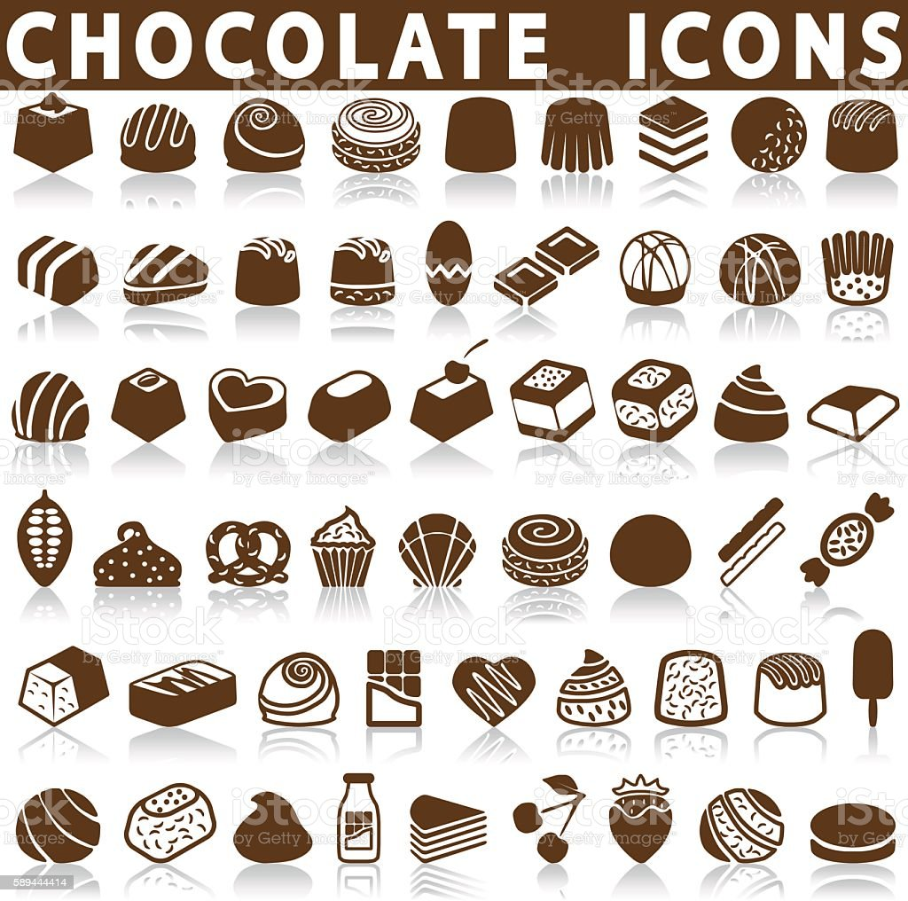 chocolate candy icons vector art illustration