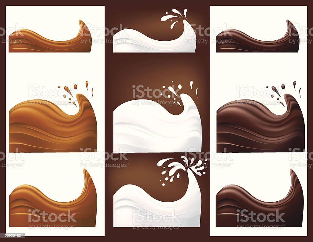 Chocolate caramel and Milk Swirls and Splash vector art illustration