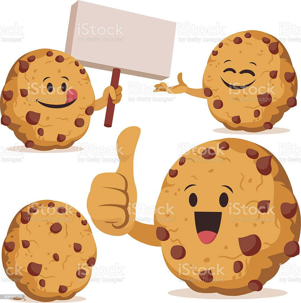 Chocolate Chip Cookie Cartoon Set C vector art illustration