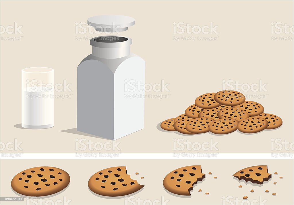 Chocolate chip cookies, milk, jar, eating vector art illustration