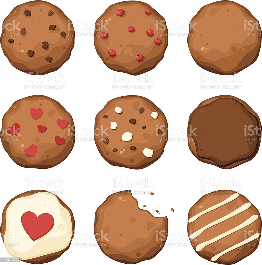 Chocolate chip cookies set vector art illustration