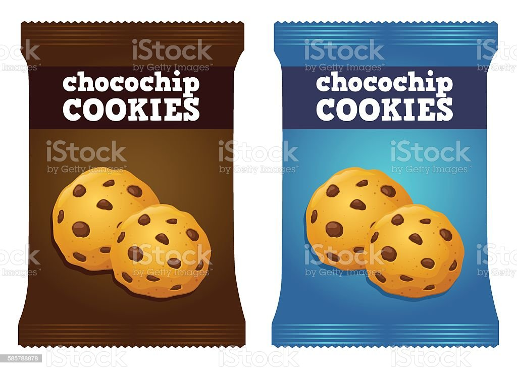 Chocolate Chips Cookie Snack Packaging Vector vector art illustration
