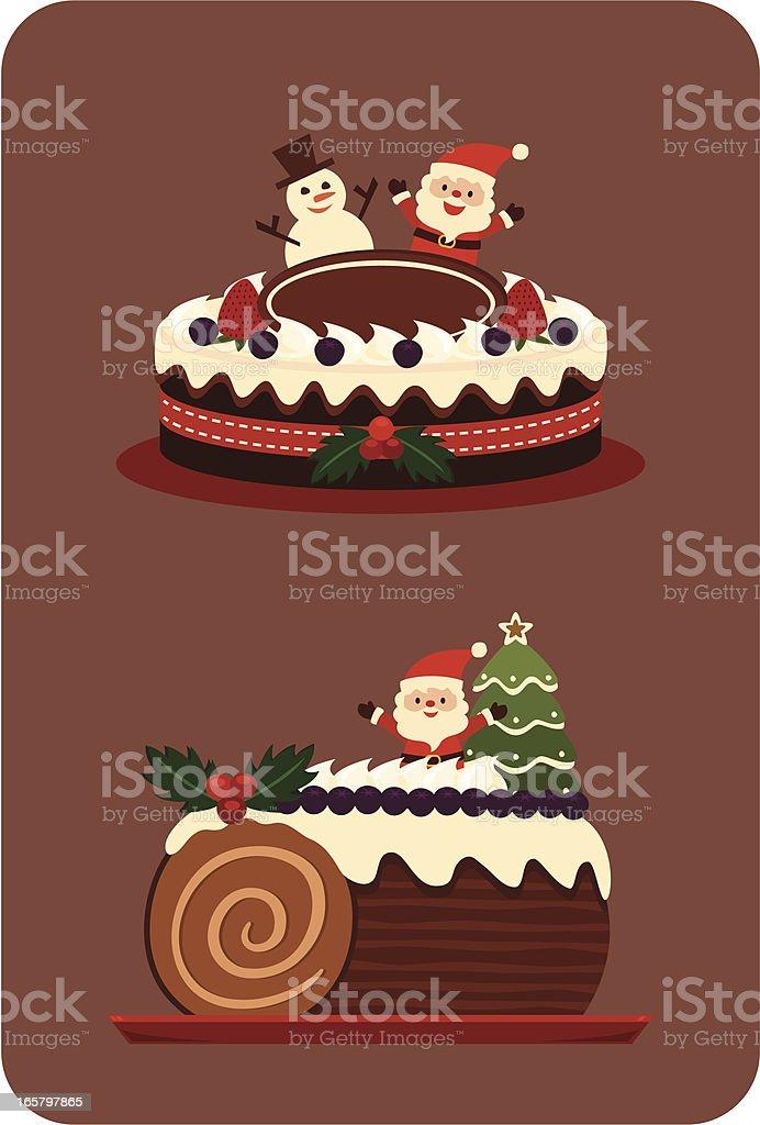 Chocolate Christmas cake vector art illustration