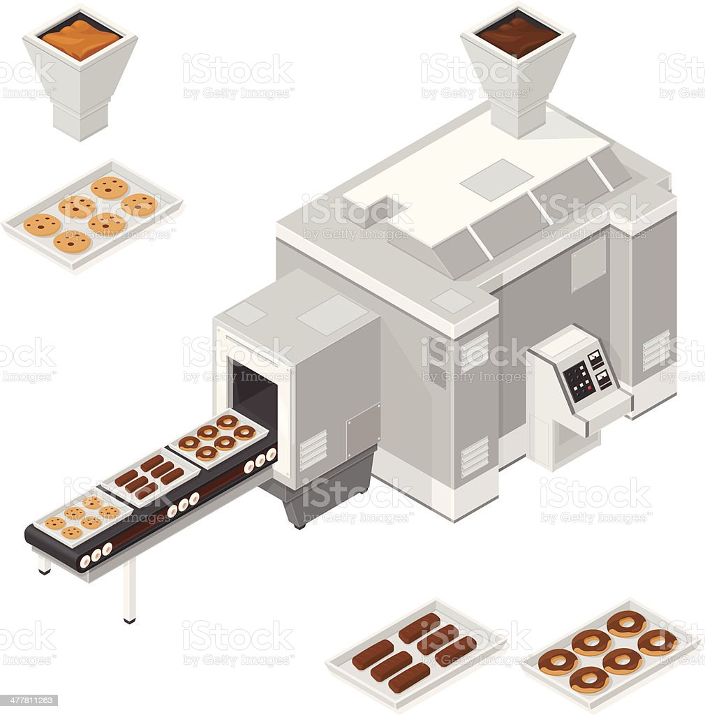 Chocolate, cookie and Donut Factory vector art illustration
