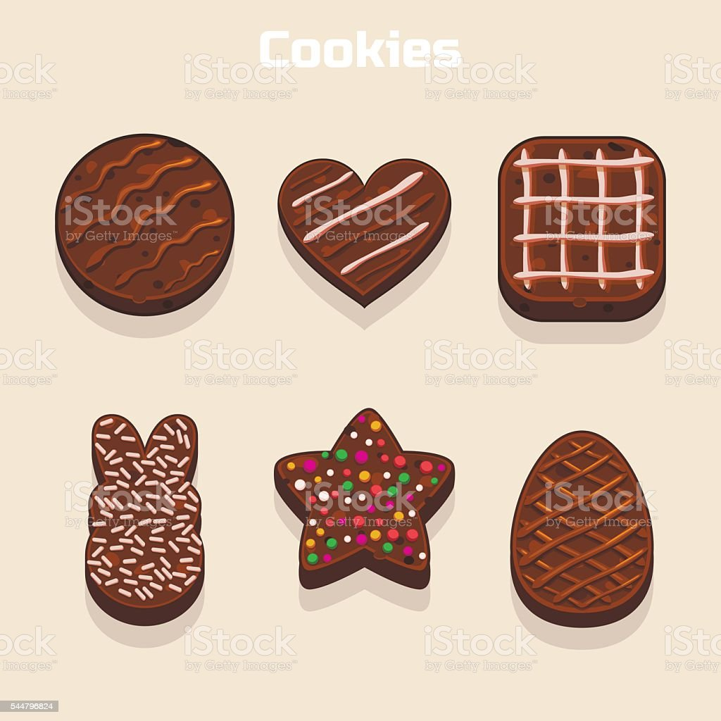 Chocolate cookies in different shapes set vector art illustration