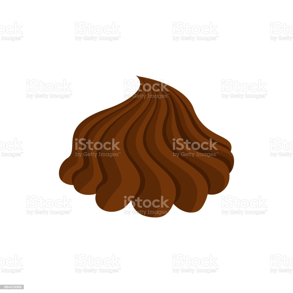 Chocolate cream Whipped and swirl. Brown curl. Confectionery Sweet Swirl vector art illustration