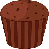 Chocolate cupcake, dessert in flat vector style. Bakery cake illustration.