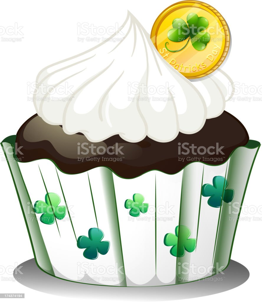 Chocolate cupcake with a token royalty-free stock vector art