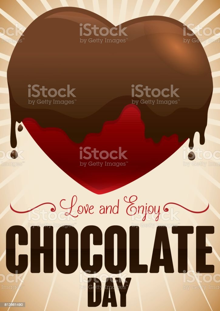 Chocolate Day Design with a Heart Covered in Liquid Chocolate vector art illustration