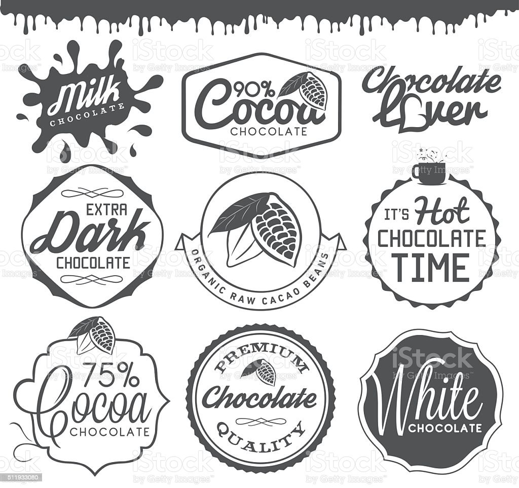 Chocolate Design Elements, Labels and Badges in Vintage Style vector art illustration