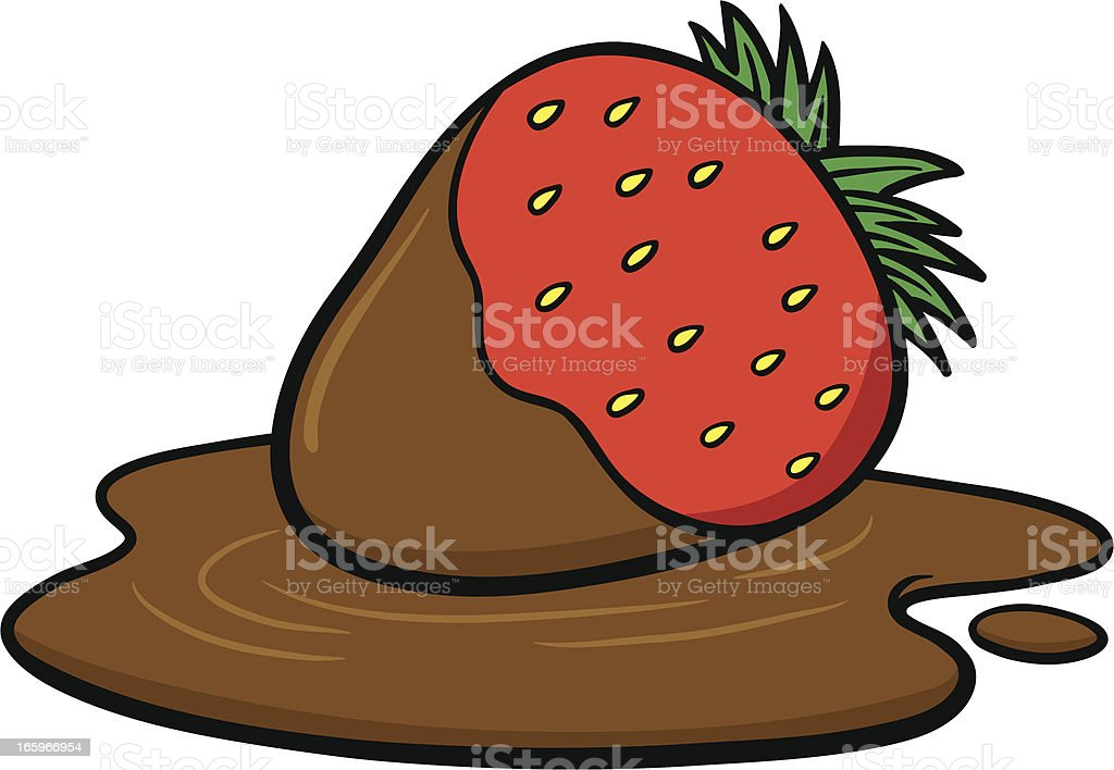 Chocolate Dipped Strawberry royalty-free stock vector art