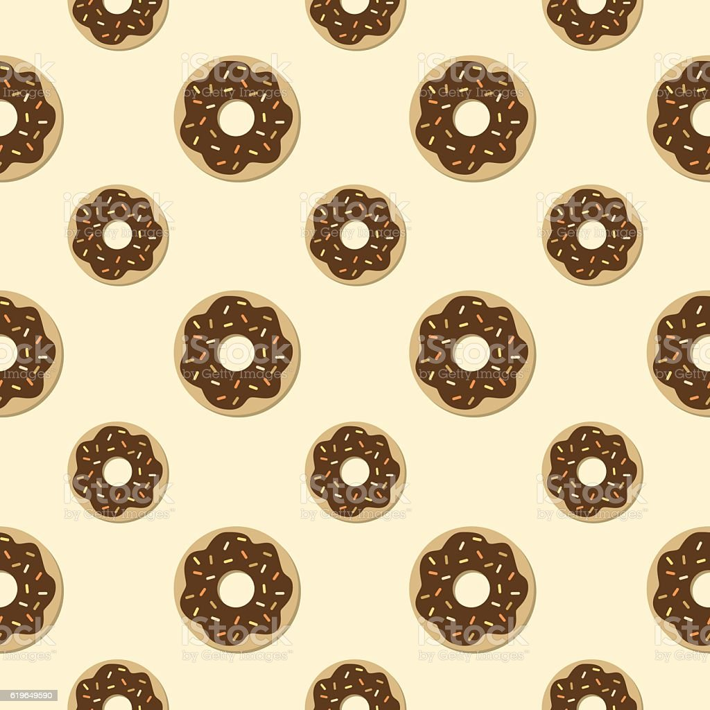 Chocolate Donuts Seamless Pattern vector art illustration