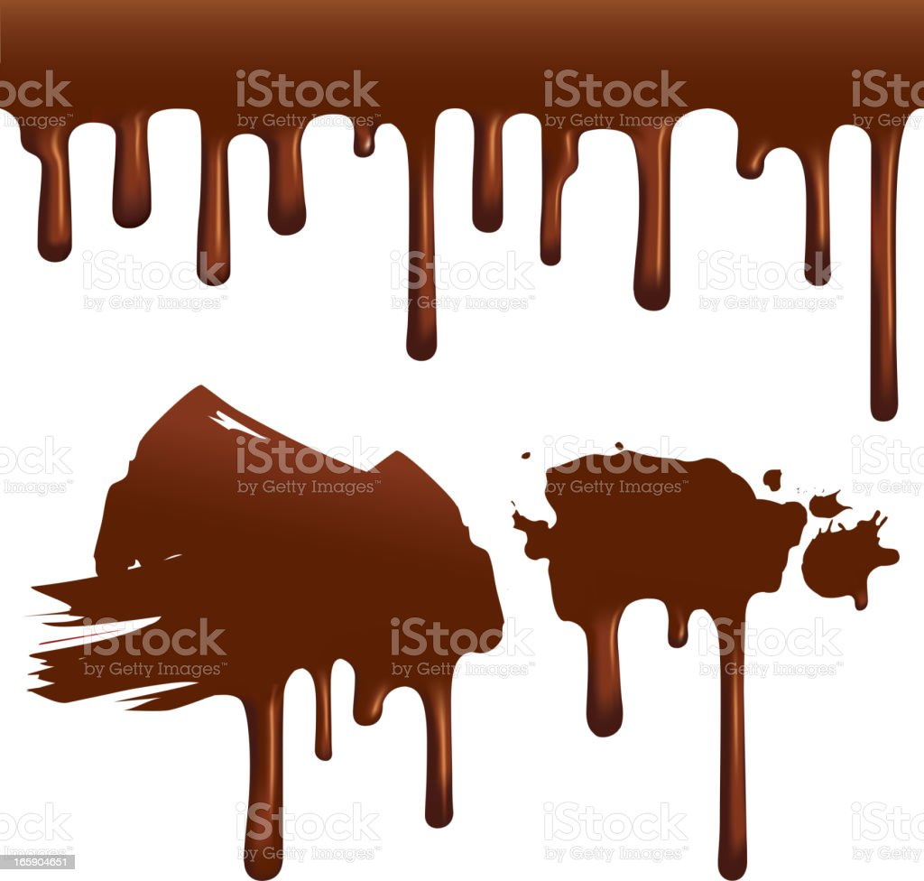 Chocolate drips vector art illustration